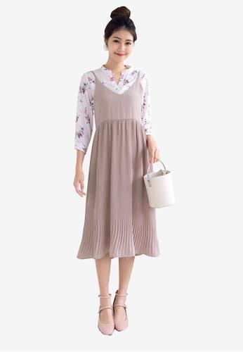 Tokichoi pink Pleated Slip Dress 41C84AA780D59DGS_1