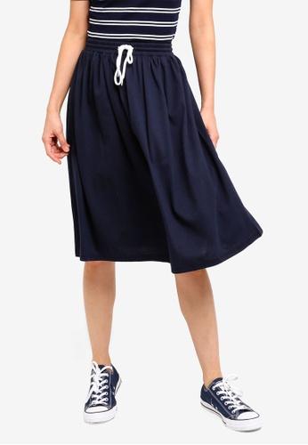 ZALORA BASICS navy Basic Midi Flare Skirt E22C4AA40DDE4DGS_1