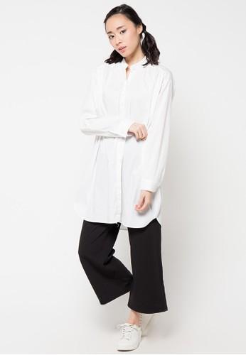 Envy Look white Shoulder Shirring Long Shirt EN694AA47CROID_1