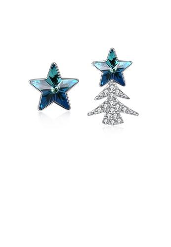 Glamorousky white 925 Sterling Silver Star Christmas Tree Asymmetric Earrings with Austrian Element Crystal 6E6DDACC02B963GS_1
