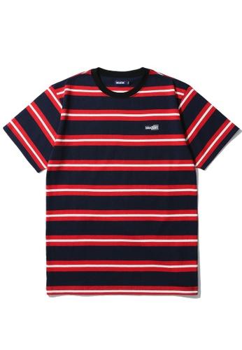BLOCKAIT navy Stripe logo tee 8D720AACD03216GS_1
