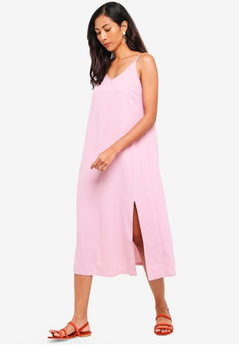 ZALORA BASICS pink Basic Midi Slip Dress C2466AA3EAFF8FGS_1