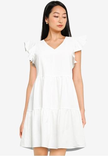 ZALORA BASICS white Flutter Sleeve Mini Dress 6A976AA9EBD574GS_1