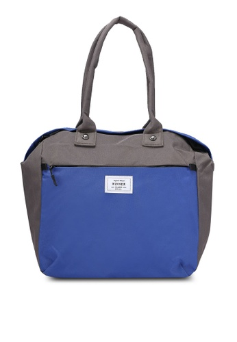 Bagstationz grey and blue and multi Colour Block Travel Bag BA607AC0RL0RMY_1