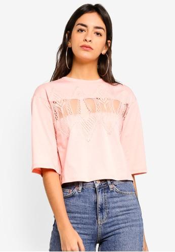 TOPSHOP 粉紅色 品牌刺繡T恤 80357AA977705CGS_1