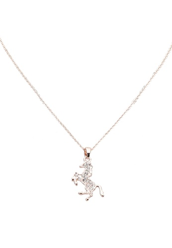 Red's Revenge gold Diamante Horse Pendant Necklace FF7B8ACF757FEDGS_1