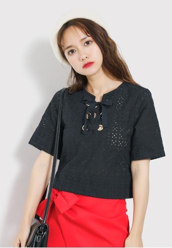 Shopsfashion black Lace Up Boxy Top in Black SH656AA40MUPSG_1