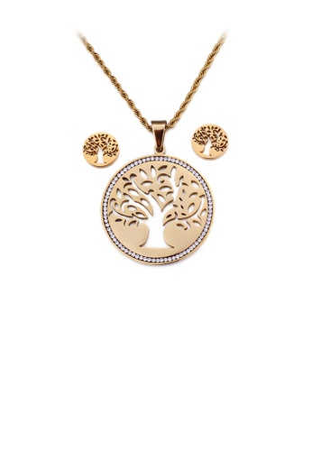 Glamorousky white Fashion and Elegant Plated Gold Hollow Tree Geometric Round 316L Stainless Steel Necklace and Stud Earring Set with Cubic Zirconia 9F480ACB1EDF1AGS_1