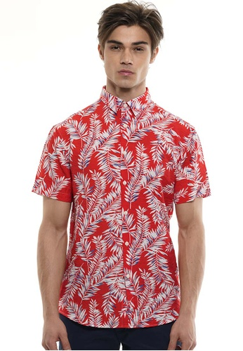Private Stitch red Private Stitch Men Casual Short Sleeve Slim Fit Cotton Floral Shirt 83283AA0800067GS_1