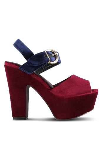 Nose red Color Blocked Velvet Wedge Heel Sandals NO327SH0S6TXMY_1