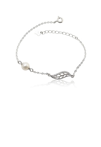 Glamorousky white 925 Sterling Silver Fashion Simple Hollow Leaf White Freshwater Pearl Bracelet with Cubic Zirconia D25AFAC3E7AB25GS_1