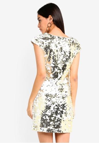 09d49cd847b Buy Dorothy Perkins White Gold Sequin Shift Dress Online
