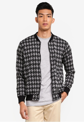 UniqTee grey Houndstooth Print Bomber Jacket 12027AA6335060GS_1