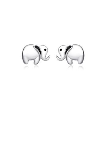 Glamorousky silver 925 Sterling Silver Simple Cute Elephant Stud Earrings 81B8DAC198D6FCGS_1