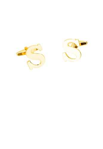 Glamorousky silver Simple Personality Plated Gold English Alphabet S Cufflinks 61A42AC1956DE7GS_1