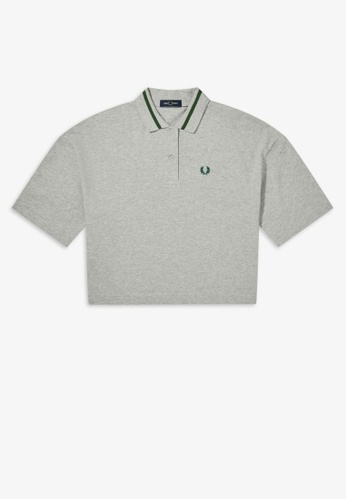 Fred Perry grey G8135 - Oversized Pique Shirt - (SOFT GREY MARL) 63476AA4971822GS_1