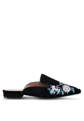 Something Borrowed black Embroidered Slip On Flats 88D7ESH1E47202GS_1