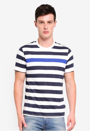 Burton Menswear London 海軍藍色 短袖條紋T恤 7F0CFAABC0A100GS_1