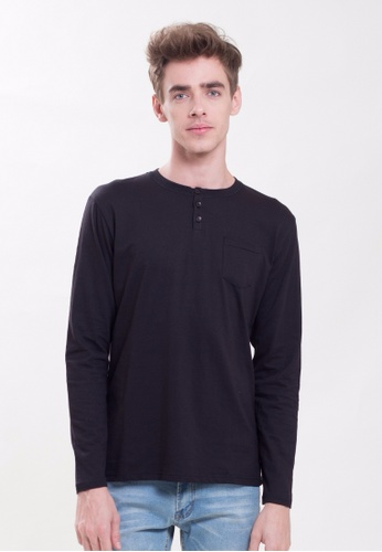 Drum 3 Button Long Sleeve Tee With Pocket-BLK DR425AA0RYCRMY_1