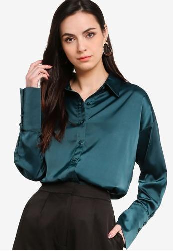 ZALORA WORK green Satin Button Down Shirt 4D350AAF9266D4GS_1