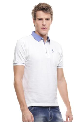 Johnwin white Johnwin - Slim Fit - Kaos Polo Active - Kerah Biru - Putih 67409AA18F6953GS_1