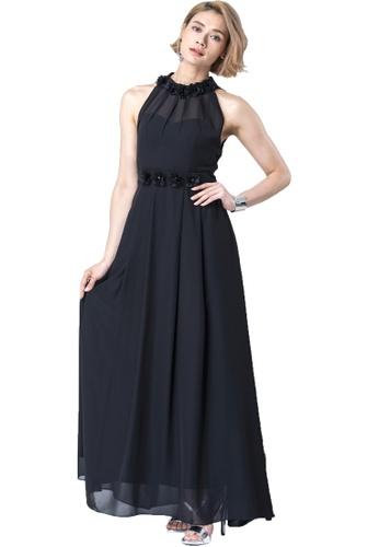 6180fd63718 Evening by Karen Liu black Halter Neck Flower Petal Chiffon Maxi Dress  0BB19AA0C32005GS 1