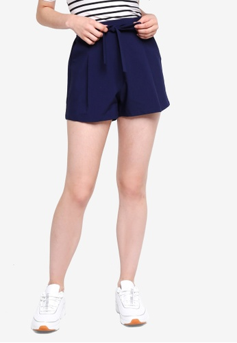 Something Borrowed navy Self Tie Flare Shorts 65012AA4D10C10GS_1
