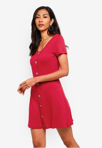 ZALORA BASICS red Basic Ribbed Button Front Fit And Flare Dress C2CCFAAAC37759GS_1