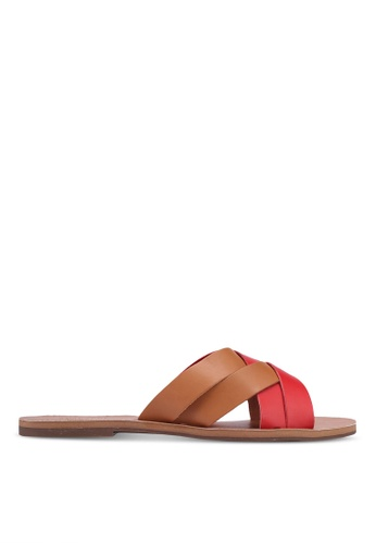 Anacapri 紅色 雙色交叉繞帶涼鞋 77C47SH4853ACFGS_1
