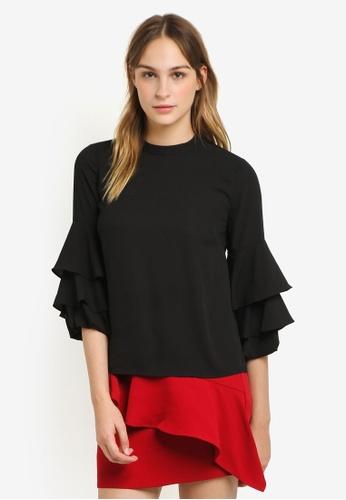WAREHOUSE black Tiered Sleeve Top WA653AA0RSQAMY_1