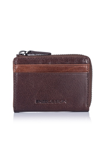 ENZODESIGN brown and multi Buffalo Leather ID Mini Coin Case With Key Ring EN357AC0FM2ZSG_1
