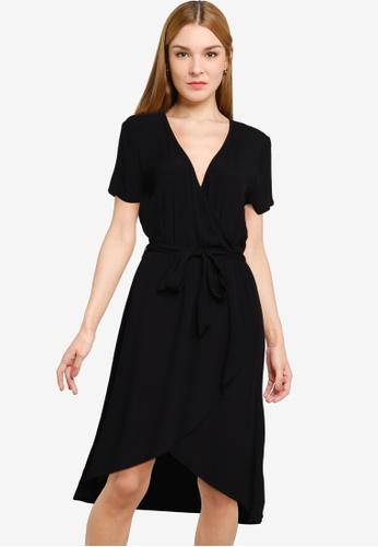 JACQUELINE DE YONG black Lea Short Sleeve Wrap Dress 6287FAAD4C1AD5GS_1