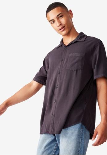Cotton On black Cuban Short Sleeve Shirt 1FC9DAAC07379DGS_1