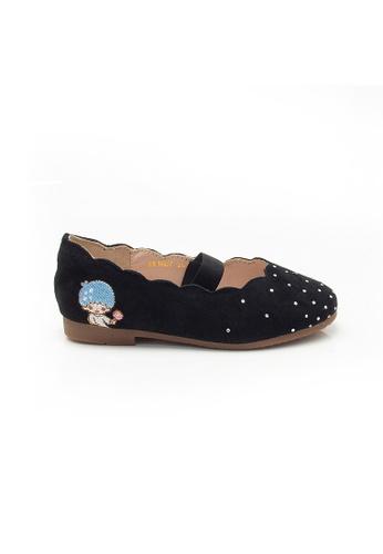 Elisa Litz black LITTLE TWIN STARS SCALLOP TRIM FLATS - KIDS - BLACK 6B65FKS5D2EA51GS_1