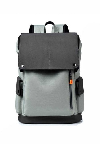 Lara grey Men's Leisure Wear-resistant Oxford Cloth Flap Zipper Backpack - Light Grey 46A4AACB23D8D0GS_1