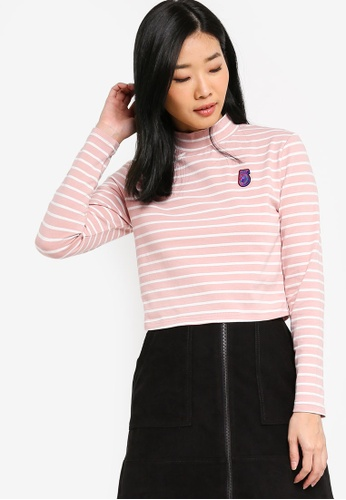 Something Borrowed pink Varsity Patch Long Sleeves Top 0BE49AA776EC9FGS_1