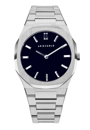 Aries Gold silver Aries Gold Prestige Edition G 1031 S-BU Dark Blue and Silver Stainless Steel Watch 61CF9AC3A14BB7GS_1