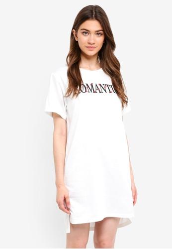 Something Borrowed white Step Hem Dress With Slogan 4344AAA96C2B25GS_1