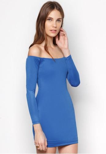 露肩平口迷你連身裙,zalora時尚購物網評價 服飾, 洋裝