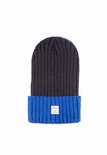 Life8 black and blue Casual Heavy-weight knitted contrast-color hat-05303-Black and blue LI248AC2VNLWHK_1