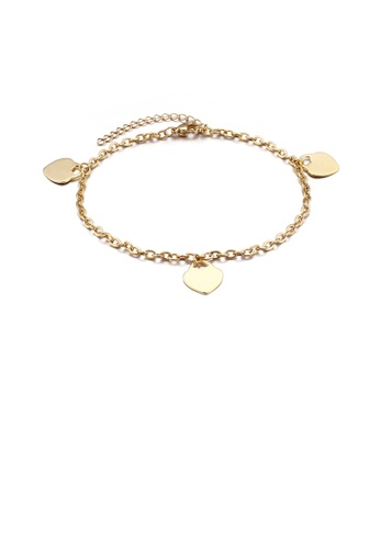 Glamorousky silver Fashion and Simple Plated Gold Heart-shaped 316L Stainless Steel Anklet 3712FAC18DD07BGS_1