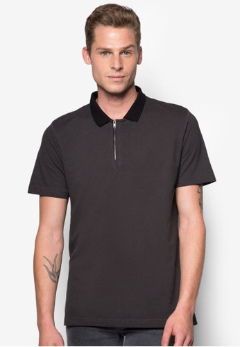 Zipper Placket Oil Washed Polo