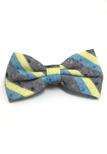 Splice Cufflinks Probe Series Turquoise, Yellow and Black Striped Pattern Design Cotton Pre-tied Bow Tie SP744AC98QPTSG_1