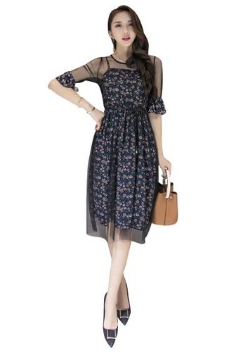 Lara multi Floral Printed Elastic Waist Round Neckline One Piece Dress 1EEC9AABDED93BGS_1