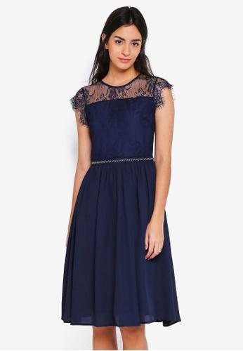 ZALORA navy Bridesmaid Lace Yoke Dress with Embellished Waistband EED14AAE0BDF87GS_1