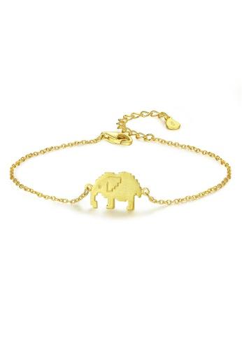 SUNRAIS gold High quality Silver S925 golden elephant bracelet 66A1BAC9A82BF9GS_1
