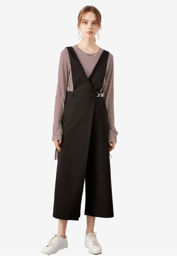 Hopeshow black Suspender Wrap Pants With Belt F32F6AA9FACD97GS_1