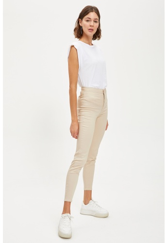 DeFacto 米褐色 Woman Woven Bottom Trousers 14770AAC2470A3GS_1