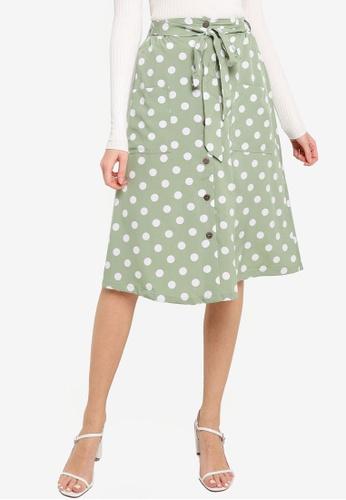 Brave Soul green Midi Skirt With Polka Dot All Over Print 65060AA79AEB43GS_1