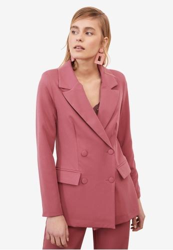 Trendyol pink Button Down Blazer Jacket 3BD47AAA1AF15DGS_1